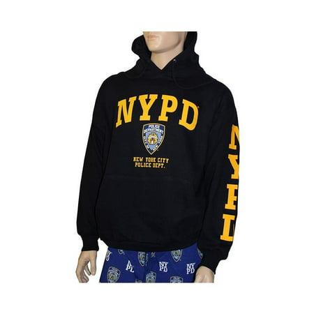 6c3e181a2 Nyc Factory - NYPD Hoodie Yellow Sleeve Print Sweatshirt Navy Blue Large -  Walmart.com