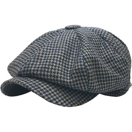 Black Oversized Herringbone Wool Blend Applejack Newsboy Ascot Cabbie Ivy Hat - Black Cabbie Hat