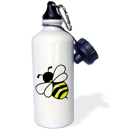 3dRose Large Yellow n Black Bumblebee, Sports Water Bottle, 21oz](Yellow Water Bottle)