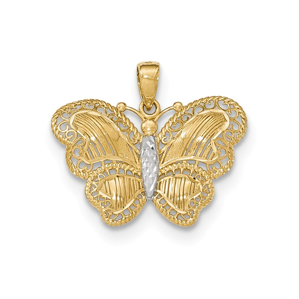 14k Yellow Gold & Rhodium Diamond Cut Buttlerfly Pendant