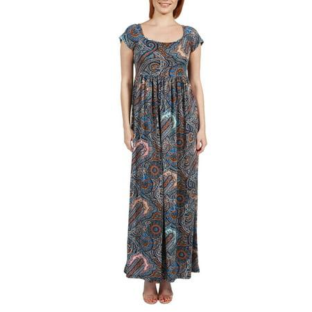 (Women's Emilia Blue Paisley Empire Waist Maxi Dress)