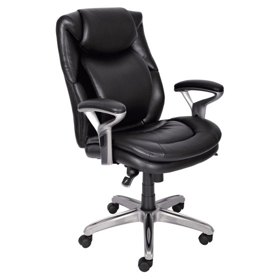 Serta At Home Black Leather Executive Office Chair