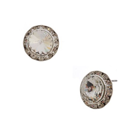 Silver Crystal Rhinestone 15mm Rondelle Circle Round Shape Stud Earrings