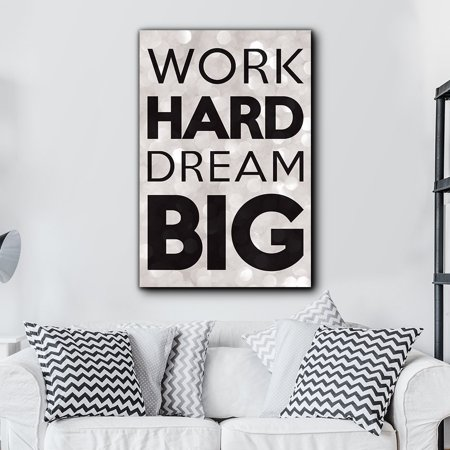 wall26 Bold Inspirational Quote Work Hard, Dream Big on Champagne Bokeh Background - Home and Dorm Room Decor - Canvas Art Home Decor - 32x48 inches ()