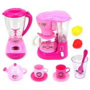 Mini Dream Kitchen 2 Pretend Play Toy Kitchen Appliances Playset w/ Blender, Coffee Machine, Accessories