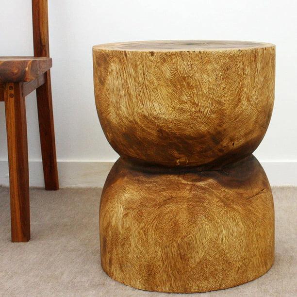 Haussmann® Wood D Bell End Table 16 in DIA x 20 inch High Walnut