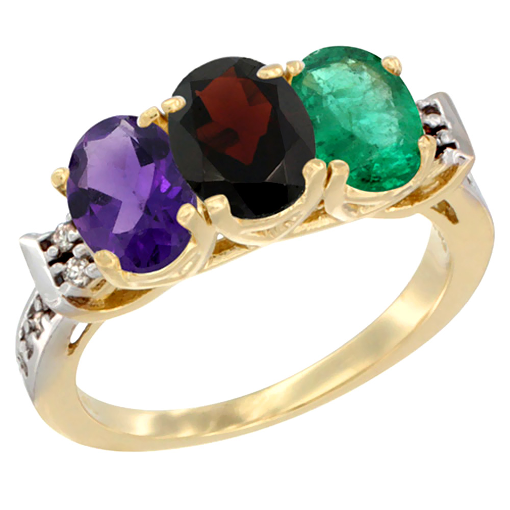 10K Yellow Gold Natural Amethyst, Garnet & Emerald Ring 3-Stone Oval 7x5 mm Diamond Accent, sizes 5 10 by WorldJewels
