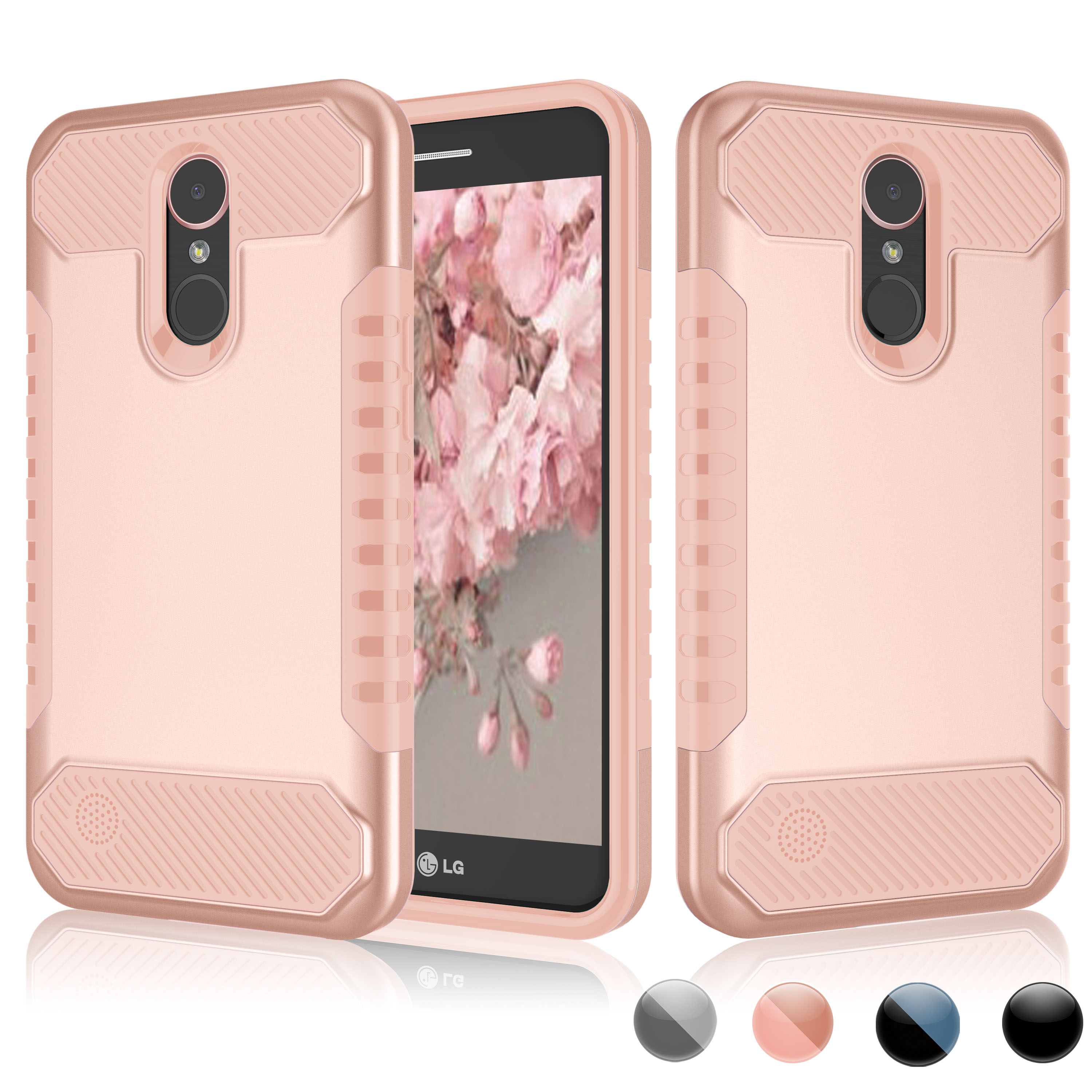 LG K10 2017 Case, LG K20 Plus Cute Case, LG K20 V Cover, LG V5 Case, Njjex Hybrid Shockproof Armor [Hard PC Back Cover + TPU Bumper] Case Cover For LG TP260 / LG MP260 -Rose Gold