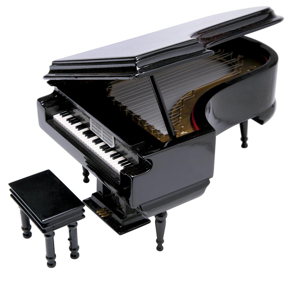 Black Baby Grand Piano Music Box with Bench and Black Cas...