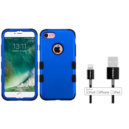 UPC 886610362215 product image for Insten Tuff Hard Dual Layer Case For iPhone 7 - Blue/Black (with Apple Certified | upcitemdb.com