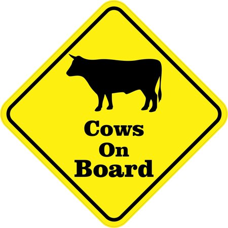 StickerTalk® Brand 5in x 5in Cows On Board Magnet Vinyl Magnetic Animal Vehicle Bumper