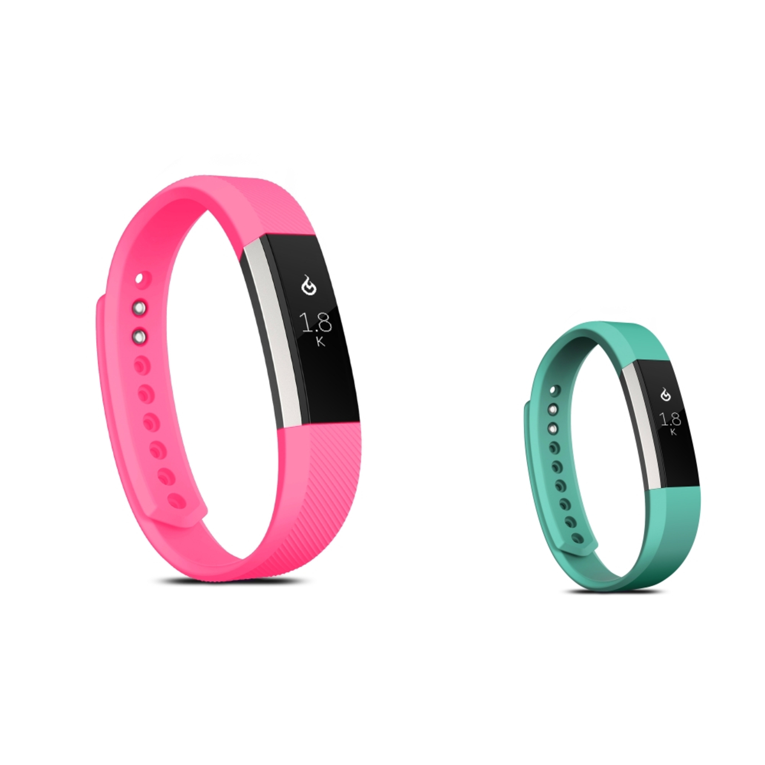 Zodaca Soft Rubber Adjustable Wristbands Watch Band Strap For Fitbit Alta HR / Alta SMALL Size - Hot Pink + Mint Green