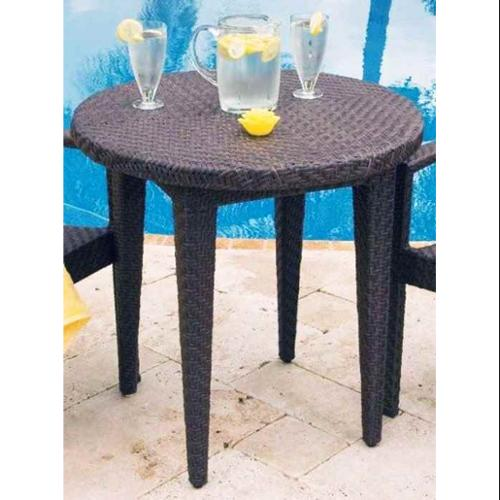Patio Dining Table 30 in. Round in Rehau Fiber Java Brown Finish