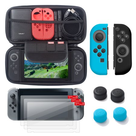 Nintendo Switch 6 Items Starter Kit  By Insten Carrying Case Hard Shell Cover   3 Pack Lcd Guard   Joy Con Controller Skin  Left Blue Right Black    Joy Con Thumb Grip Stick Caps For Nintendo Switch