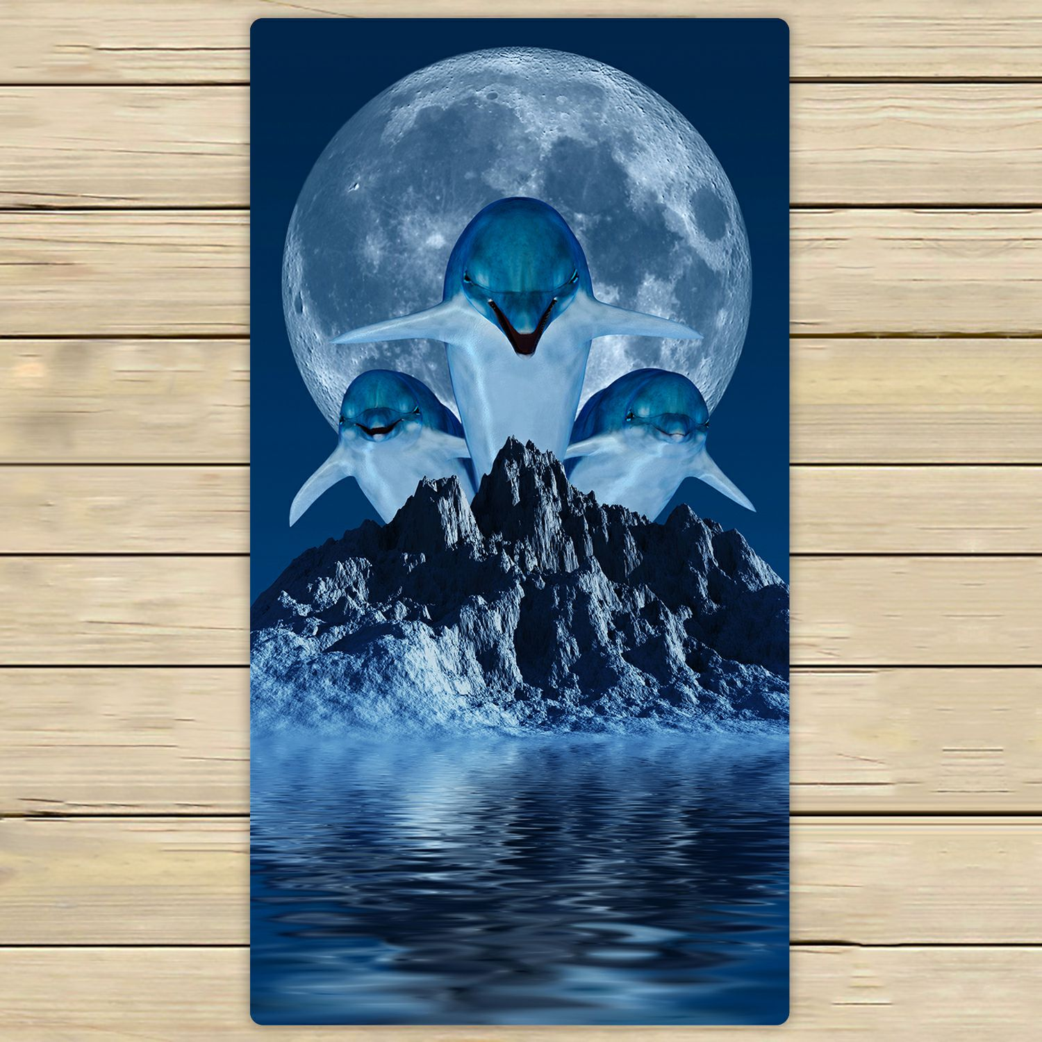 PHFZK Ocean Animal Towel, Dolphins with Moon Hand Towel Bath Bathroom Shower Towels Beach Towel 30x56 inches