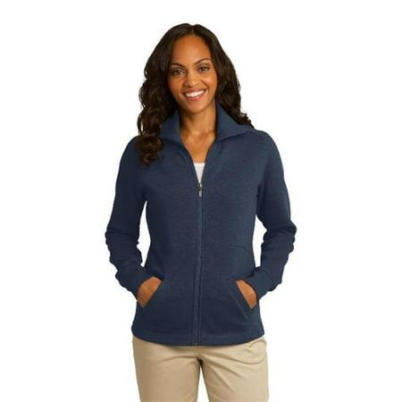 Port Authority L293 Ladies Slub Fleece Full-Zip Jacket, Navy - Large - image 1 of 1