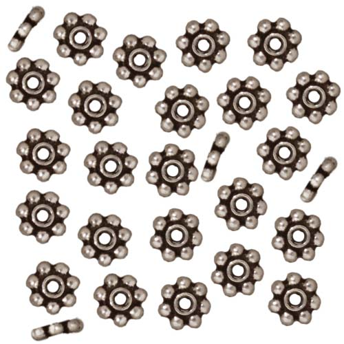 TierraCast Rhodium Plated Pewter Daisy Spacer Beads 5mm (50)