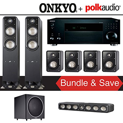 Polk Audio Signature S55 7.1-Ch Home Theater Speaker System with Onkyo TX-RZ1100 9.2-Channel Network AV Receiver by Polk Audio