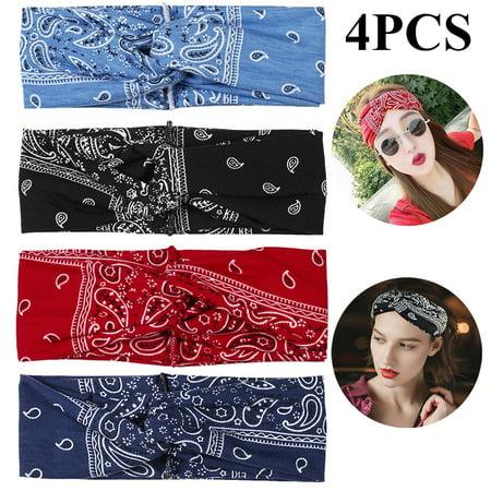 4PCS Boho Headbands for Women,Kapmore Vintage Bandana Flower Printed Head Wrap Twisted Hair (Hippie Print Headband)