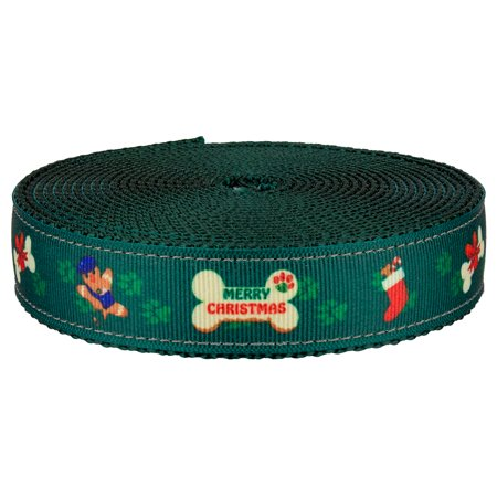 Country Brook Design® 3/4 Inch Doggy Christmas on Green Nylon Webbing (Doggy Christmas)