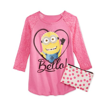 Despicable Me Girls Bello Heart Lace Sleeve 2-Fer Graphic T-Shirt