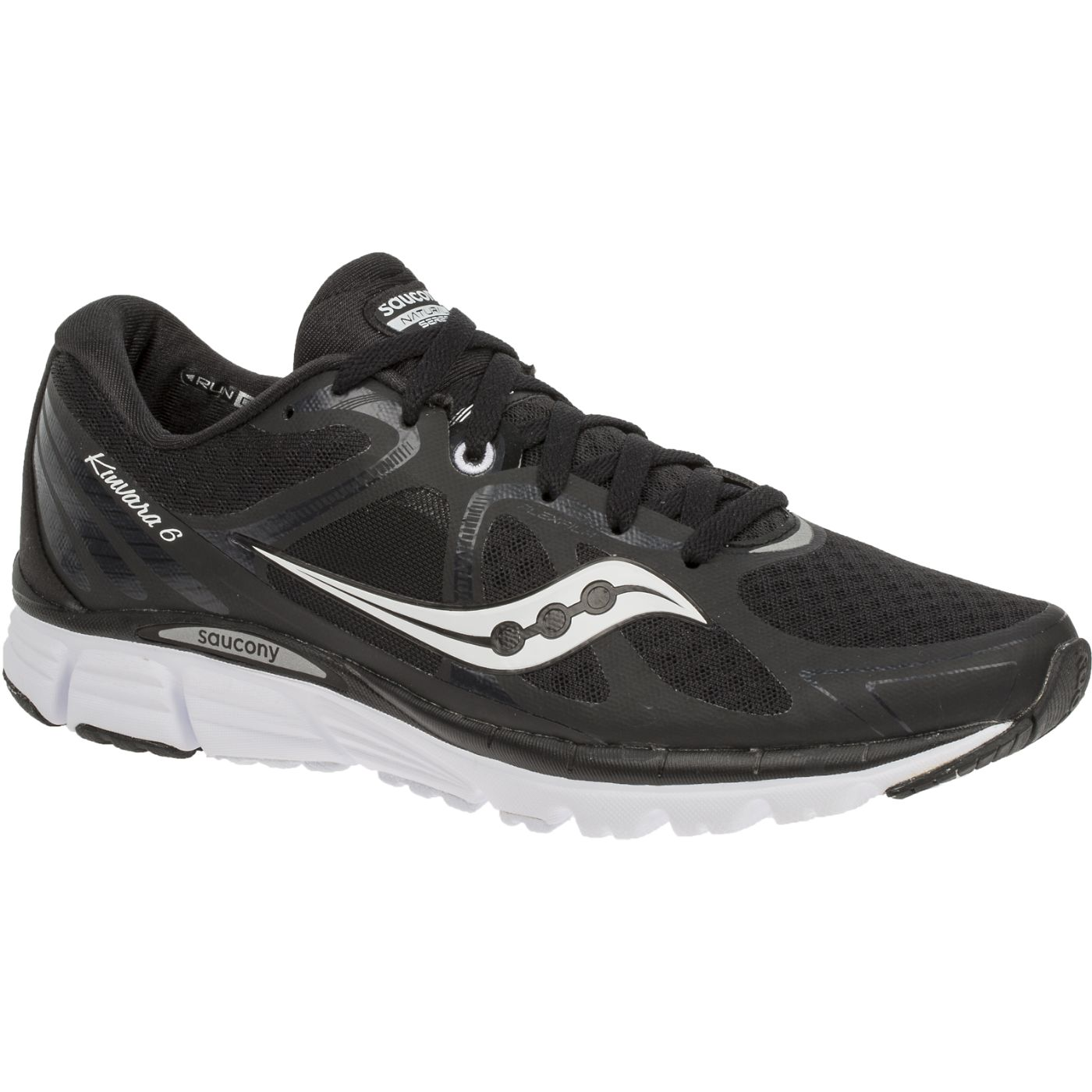 Saucony Women's Kinvara 6 Road Running Shoe, Black/White, 7 M US