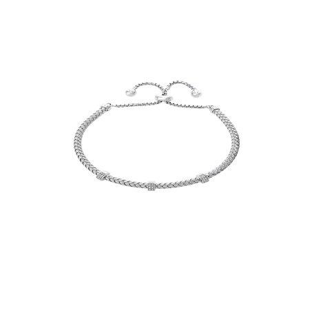 Effy 925 Sterling Silver & Diamond Slider Bracelet Moving Diamonds Bracelet