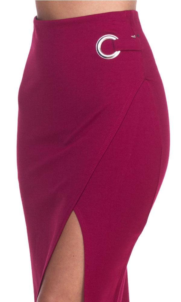 97af3629b1 OFASHIONUSA - OFASHIONUSA Women's Envelope O-Ring Front Slit Pencil Skirt  (Burgundy, Large) - Walmart.com