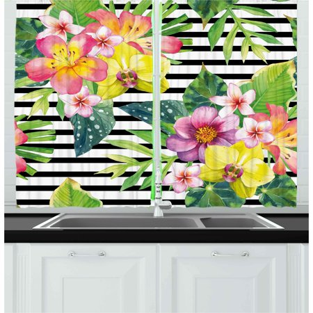 - Floral Curtains 2 Panels Set, Bouquet with Lily Dahlia Palm Begonia Leaves Orchid Flowers on a Striped Background, Window Drapes for Living Room Bedroom, 55W X 39L Inches, Multicolor, by Ambesonne