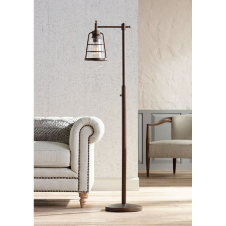 Franklin Iron Works Rustic Farmhouse Downbridge Floor Lamp Oiled Bronze Seedy Glass Shade LED Edison Bulb Dimmable for Reading