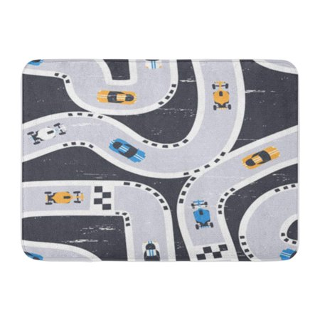 LADDKE Race Vector Seamless Racing Cars Pattern Print Boy Children Baby Doormat Floor Rug Bath Mat 30x18 inch
