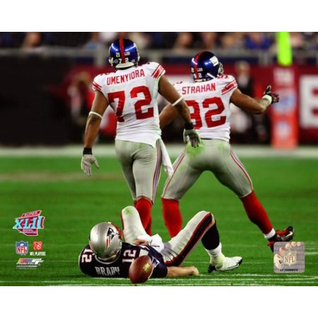 Michael Strahan   Osi Umenyiora Super Bowl Xlii Action Photo Print
