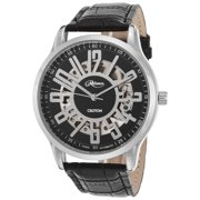 Re306072wsdw Men's Reliance Automatic Black Genuine Leather White Dial Watch