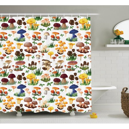 Mushroom Decor Shower Curtain Set Pattern With Types Of