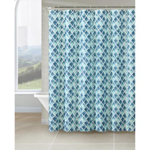 VCNY Watercolor Diamond PEVA Shower Curtain Purple