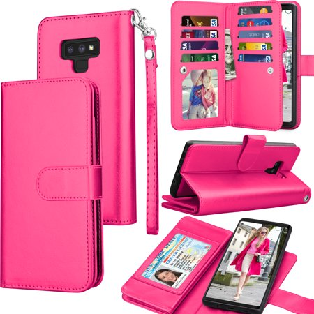 Note Case Wallet - Tekcoo Wallet Case Samsung Galaxy Note 8 / Note 9, Tekcoo Luxury Cash Credit Card Slots Holder Carrying Flip Cover [Detachable Magnetic Hard Case] & Kickstand - Hot Pink