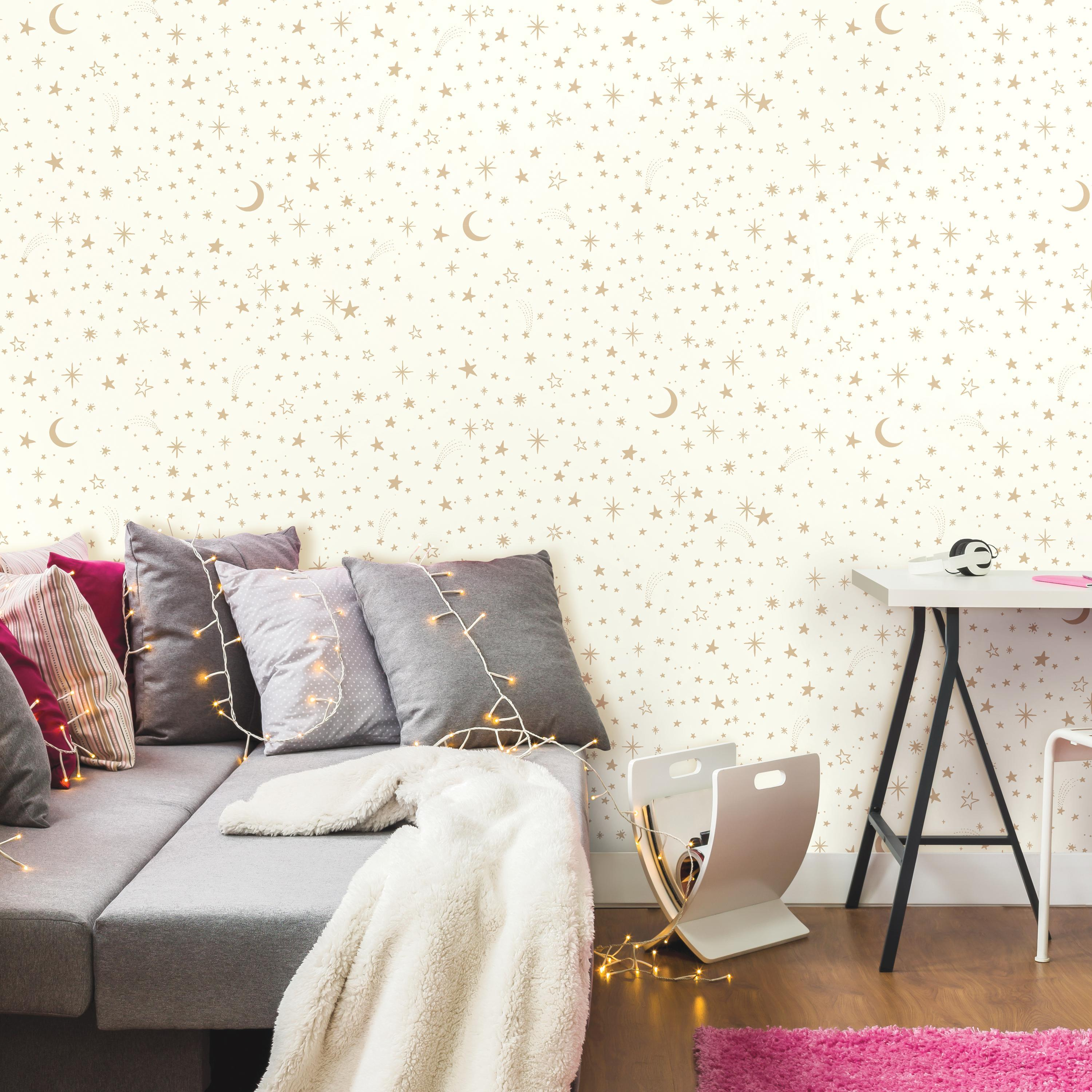 RoomMates Twinkle Little Star Gold Peel & Stick Wallpaper