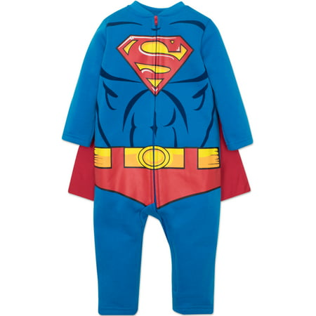 Warner Bros. Justice League Superman Toddler Boys Hooded Costume Coverall & Cape (3T) - Halloween Costume 3t