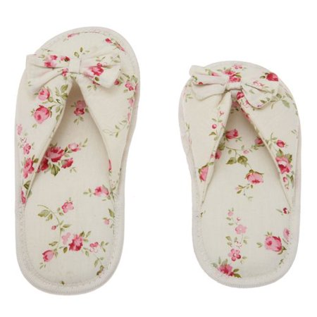 Living Health Products W5-7_Btfly-Peo_7-8 Floral Peonies Printed Cotton Women Memory Foam Foot Bed Slipper with