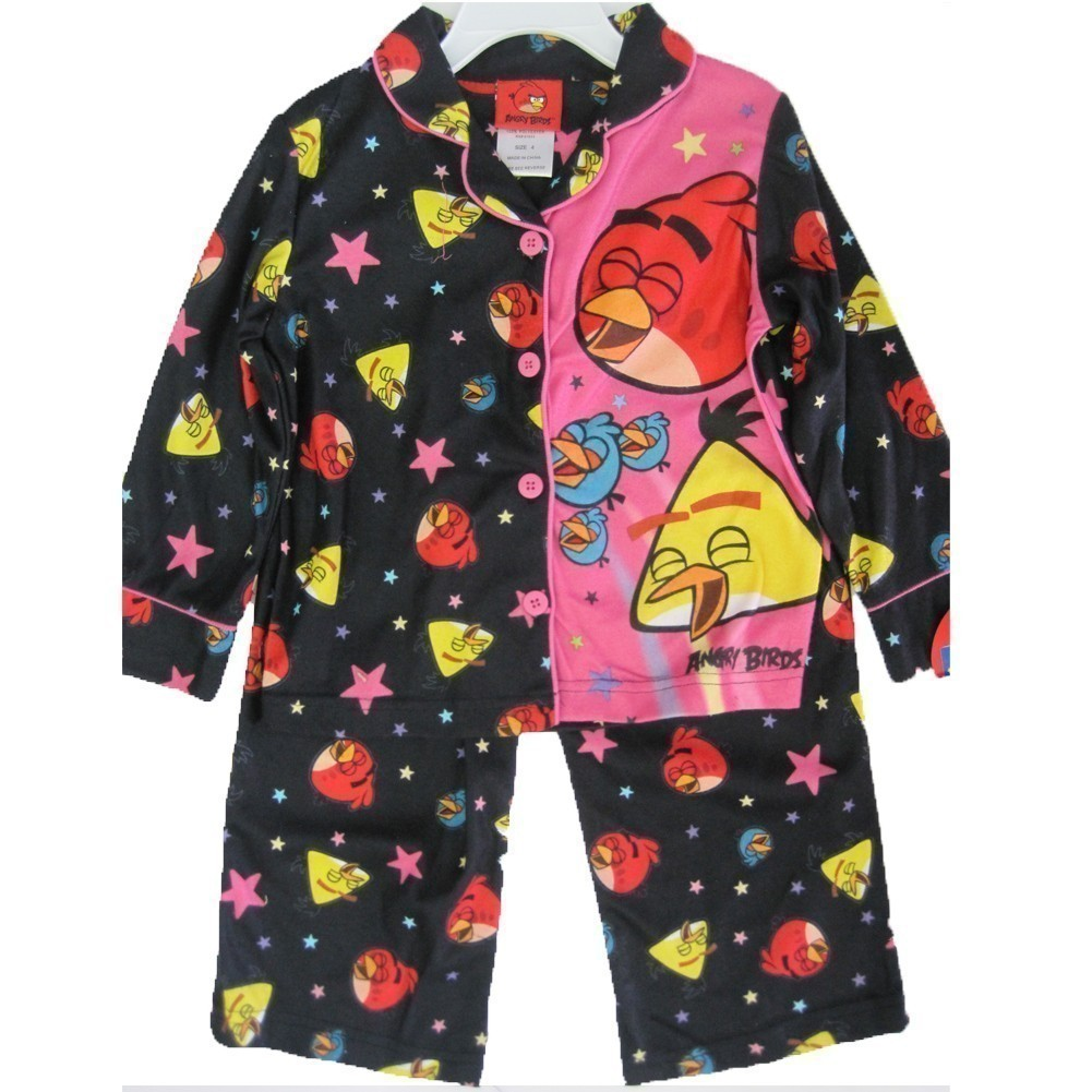 Angry Birds Little Girls Black Pink Character Print 2 Pc Pajama Set 4-6