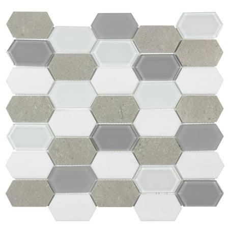 MTO0127 Hexagon White Cinderella Gray Glossy Thassos Marble Glass Mosaic Tile