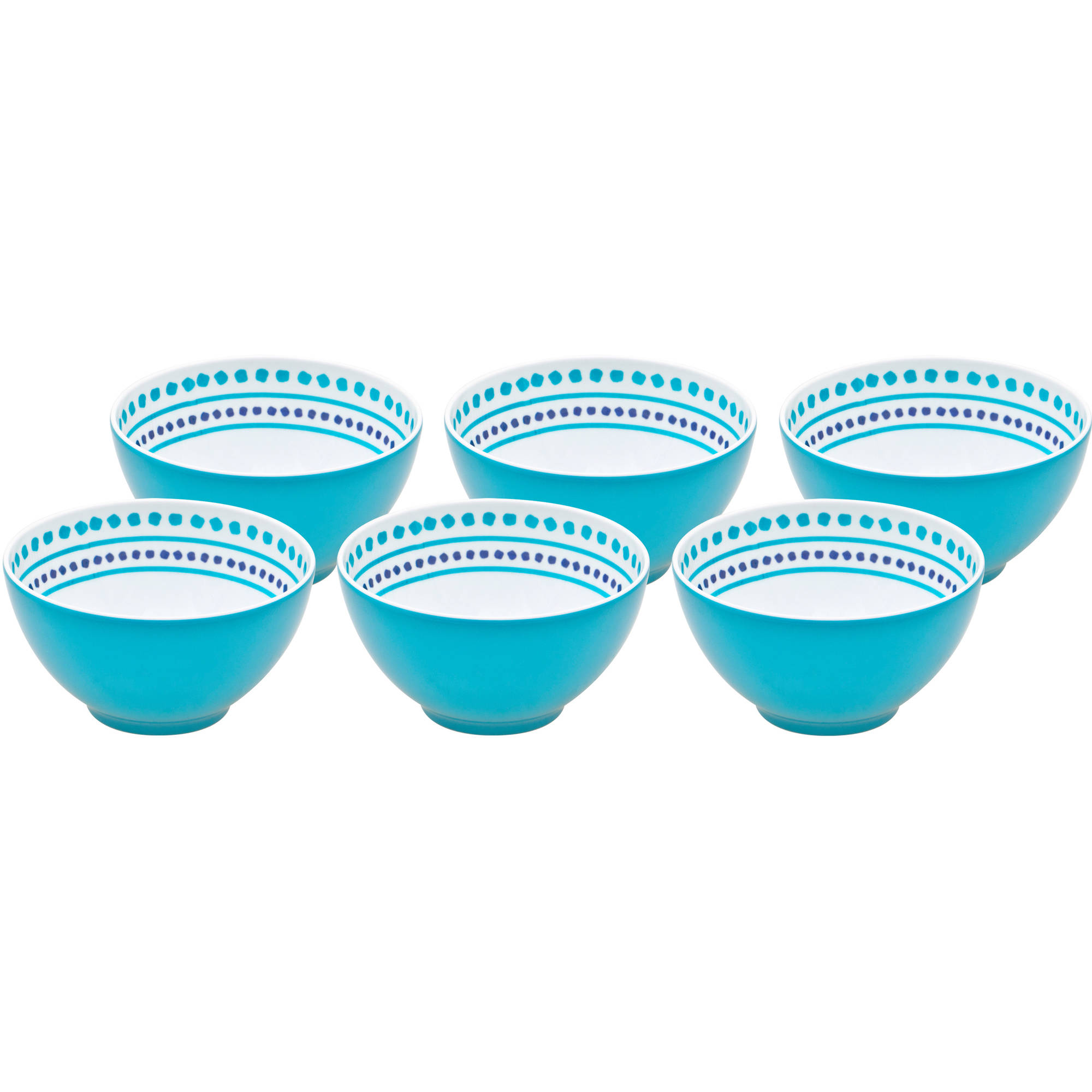 Better Homes and Gardens Teal Trellis Print Melamine Berry Bowl, 6pk