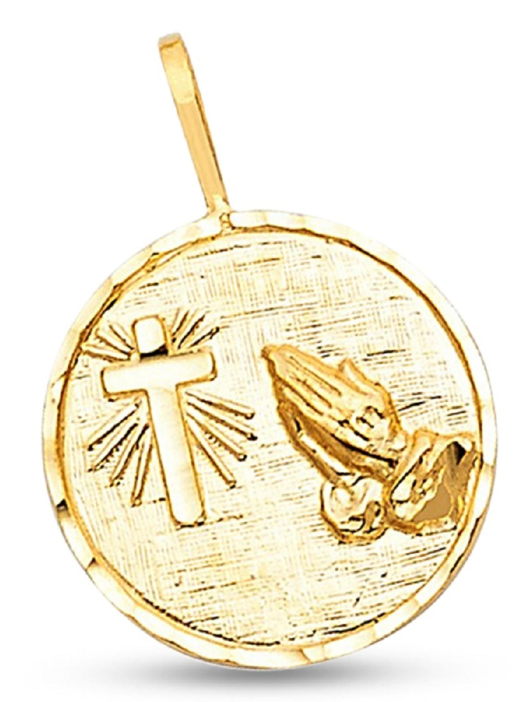 Solid 14k Yellow Gold Cross & Prayer Hands Pendant Christian Coin Charm Design Polished 15 x 15 mm
