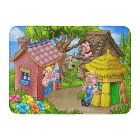GODPOK Cartoon from The Three Little Pigs Childrens Fairytale Story of 3 Characters with Their Straw Wooden Rug Doormat Bath Mat 23.6x15.7