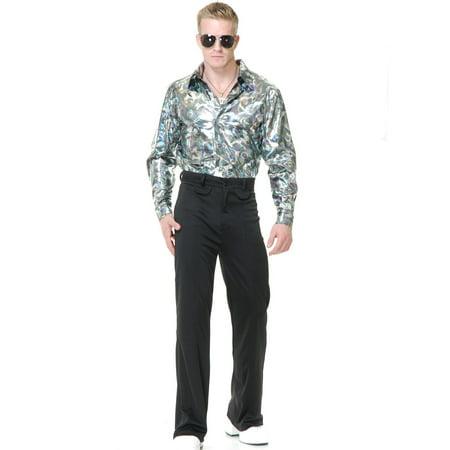 Disco Themed Costumes (Mens Silver Disco Shirt)