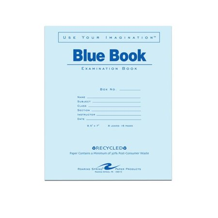 Roaring Spring Paper Products 77608 Recycled Blue Exam Book   600 Per Case