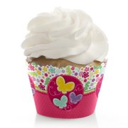 Playful Butterfly and Flowers - Baby Shower or Birthday Party Cupcake Wrappers - Set of 12