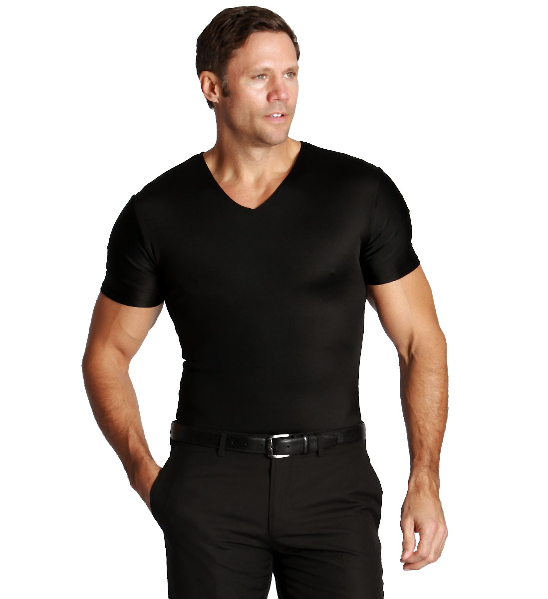 GIFT PACK Insta Slim V-Neck Men's Compression Shirt 1 White/1 Black