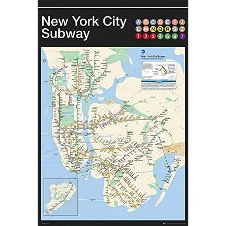 City Subway Map Art.New York City Subway Map 24 X36 Art Print Poster