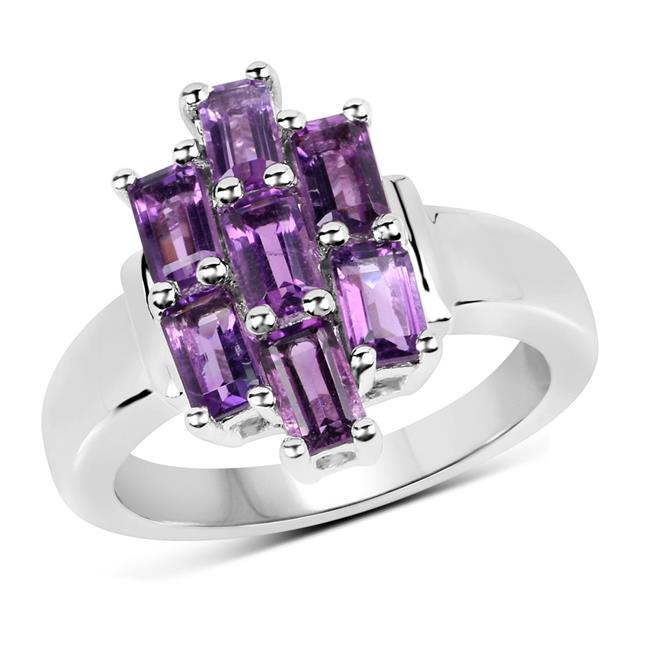 Malaika QR19063A-SSR-6 Sterling Silver Emerald Ring with One Gems Stone, Purple - Size 6 - image 1 de 1